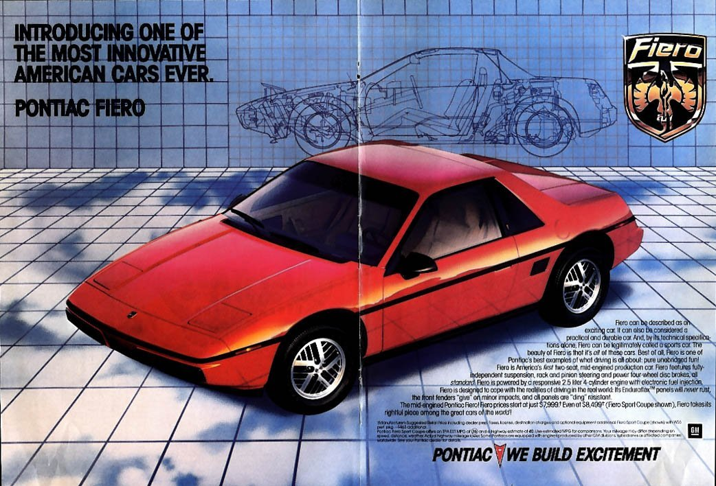 One of the most innovative American cars ever Pontiac Fiero ad 1984 NY