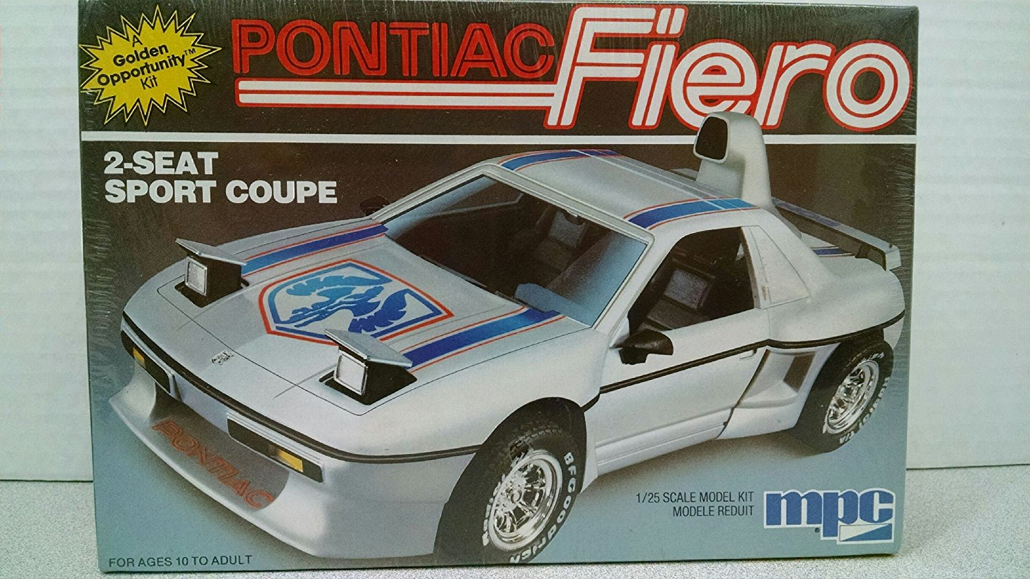 MPC 6309 '86 Pontiac Fiero 2-Seat Sport Coupe 1/25 Scale Plastic Model Kit-Requires Assembly