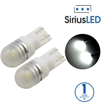 SiriusLED Super Bright 1 W LED Bulbs with 360 Degree Projection for Car Interior Lights Gauge Instrument Panel Dome Map Side Marker Door Courtesy License Plate T10 168 192 194 2825 W5W White