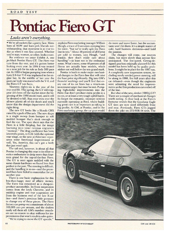 Fiero GT article page 1