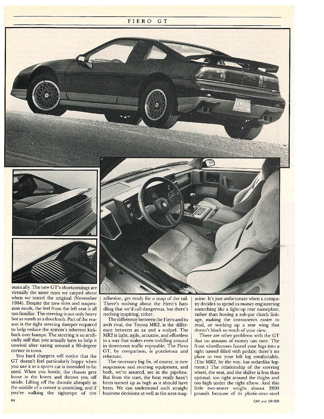 Pontiac Fiero GT review by Car and Driver magazine page 3.