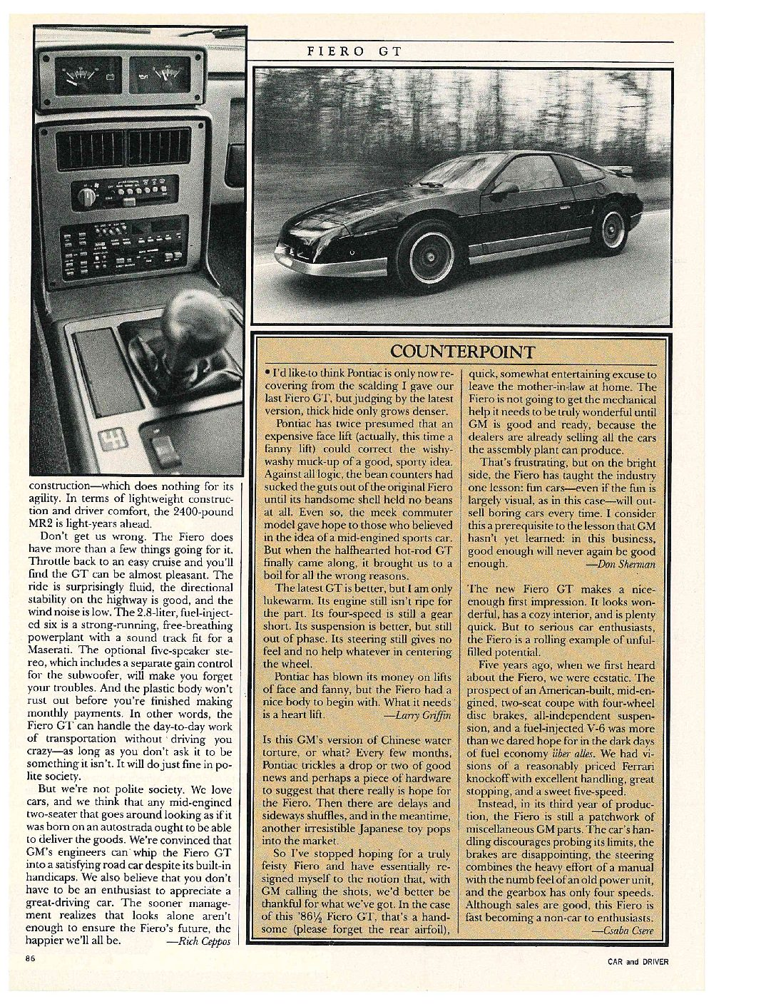 Pontiac Fiero GT review by Car and Driver magazine page 4